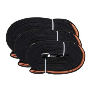 Different sizes and length of the Pawise trailing lead for dogs. A black and orange dog leash made of high quality cotton. Used for outdoor activities with dogs and training.