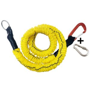 traindee® stretchy dog training leash yellow with carabiner